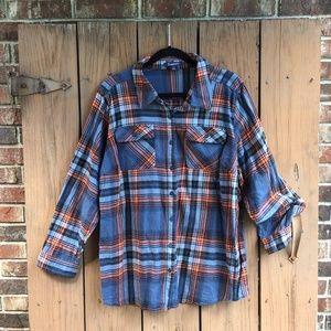Roaman's | Flannel Plaid Button Down Shirt